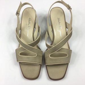 Salvatore Ferragamo sandals size 9 1/2 2A Beige